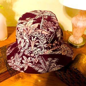 HUF Custom made bucket hat Maroon palm trees